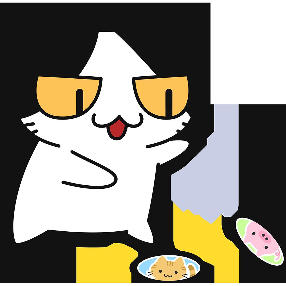 メンコで遊ぶ猫の無料イラスト