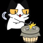 ベーゴマで遊ぶ猫の無料イラスト