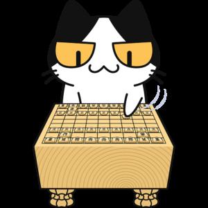 将棋をする猫の無料イラスト
