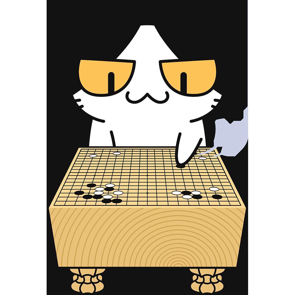 囲碁をする猫の無料イラスト