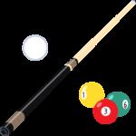 ビリヤード(キューと球)の無料イラスト