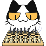 チェスをする猫の無料イラスト