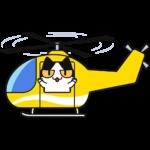ヘリコプターに乗る猫の無料イラスト