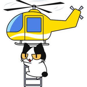 ヘリコプターの縄ばしごにつかまる猫