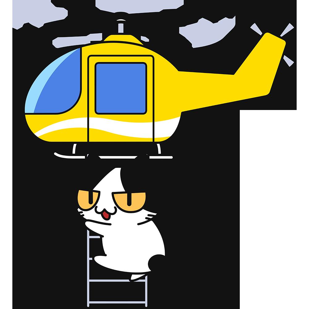 ヘリコプターの縄ばしごにつかまる猫の無料イラスト