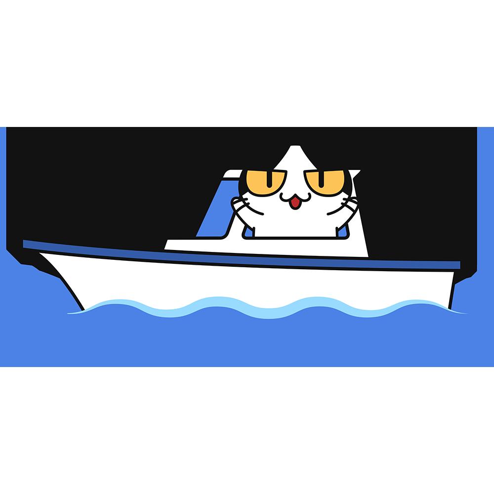 船に乗る猫の無料イラスト