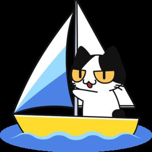 ヨットに乗る猫の無料イラスト