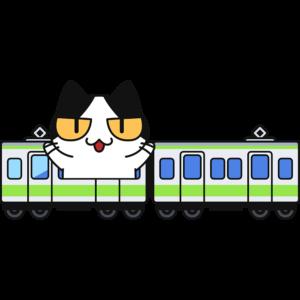 電車で旅行する猫の無料イラスト
