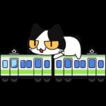 電車に乗る猫の無料イラスト