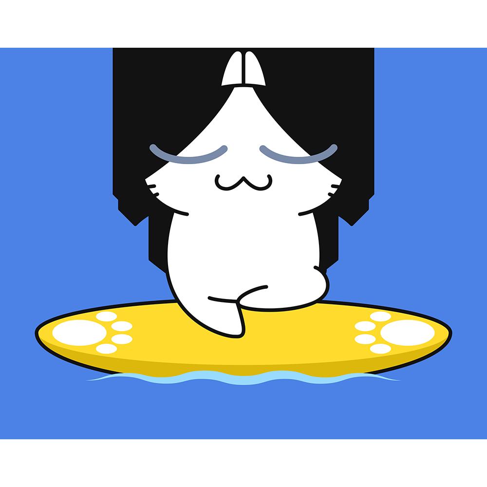 サップヨガをする猫の無料イラスト
