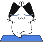 ヨガをする猫の無料イラスト
