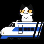 新幹線に乗る猫の無料イラスト