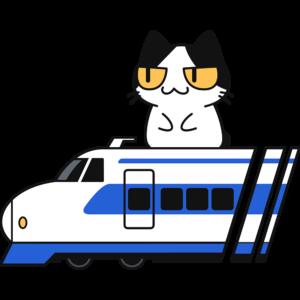 新幹線に乗る猫