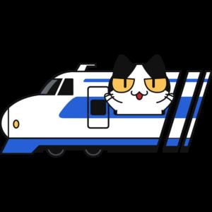 新幹線で旅行する猫