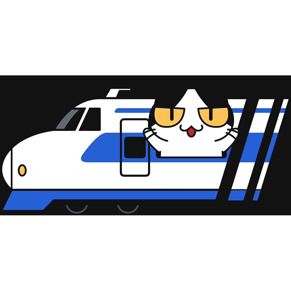 新幹線で旅行する猫の無料イラスト
