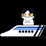 リニアモーターカーに乗る猫の無料イラスト