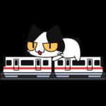 跨座式モノレールに乗る猫の無料イラスト