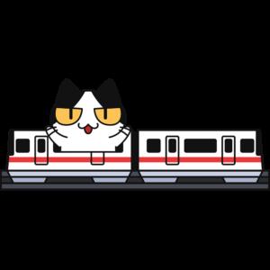 跨座式モノレールで旅行する猫