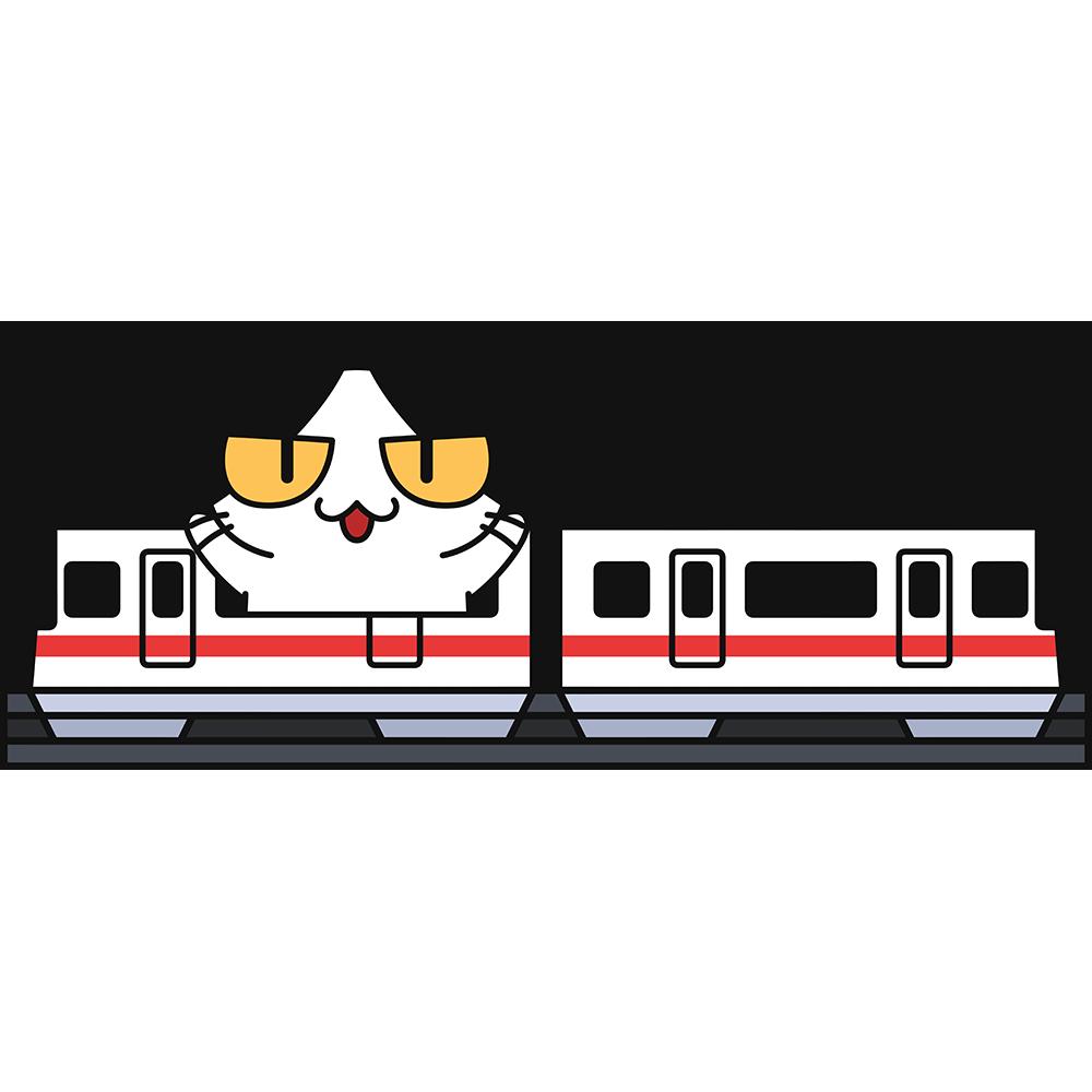 跨座式モノレールで旅行する猫の無料イラスト