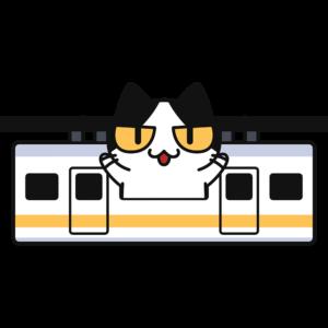 懸垂式モノレールで旅行する猫