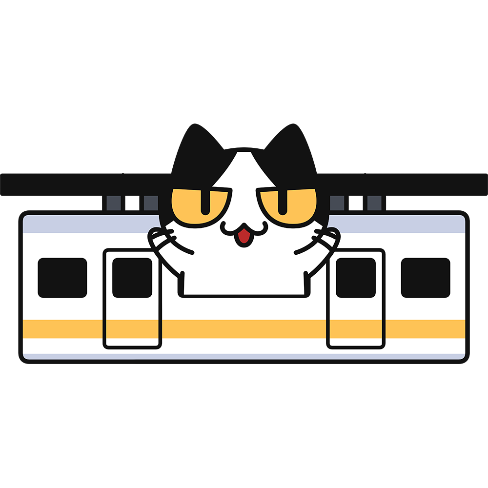 懸垂式モノレールで旅行する猫の無料イラスト