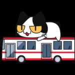 バスに乗る猫の無料イラスト