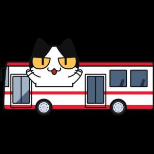 バスで旅行する猫の無料イラスト