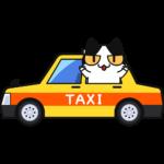 タクシーに乗る猫の無料イラスト
