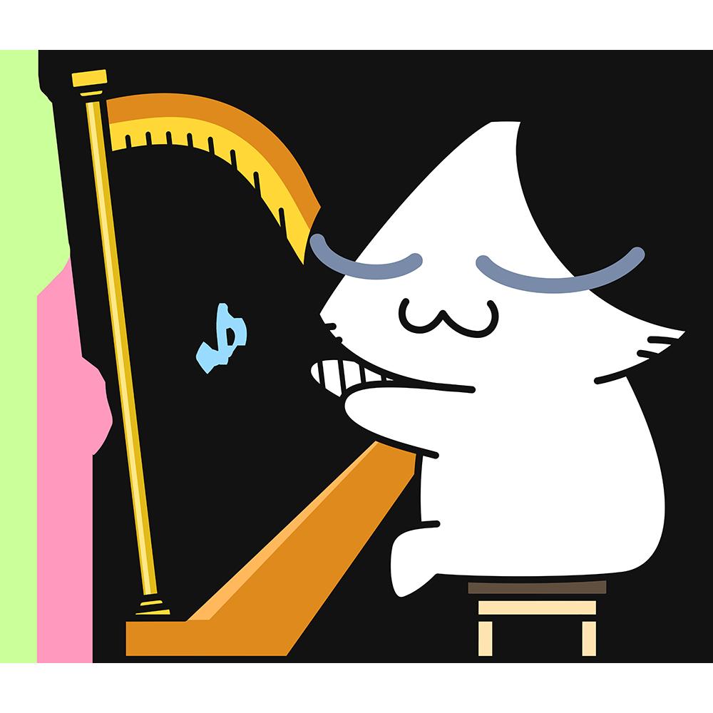 ハープを弾く猫の無料イラスト