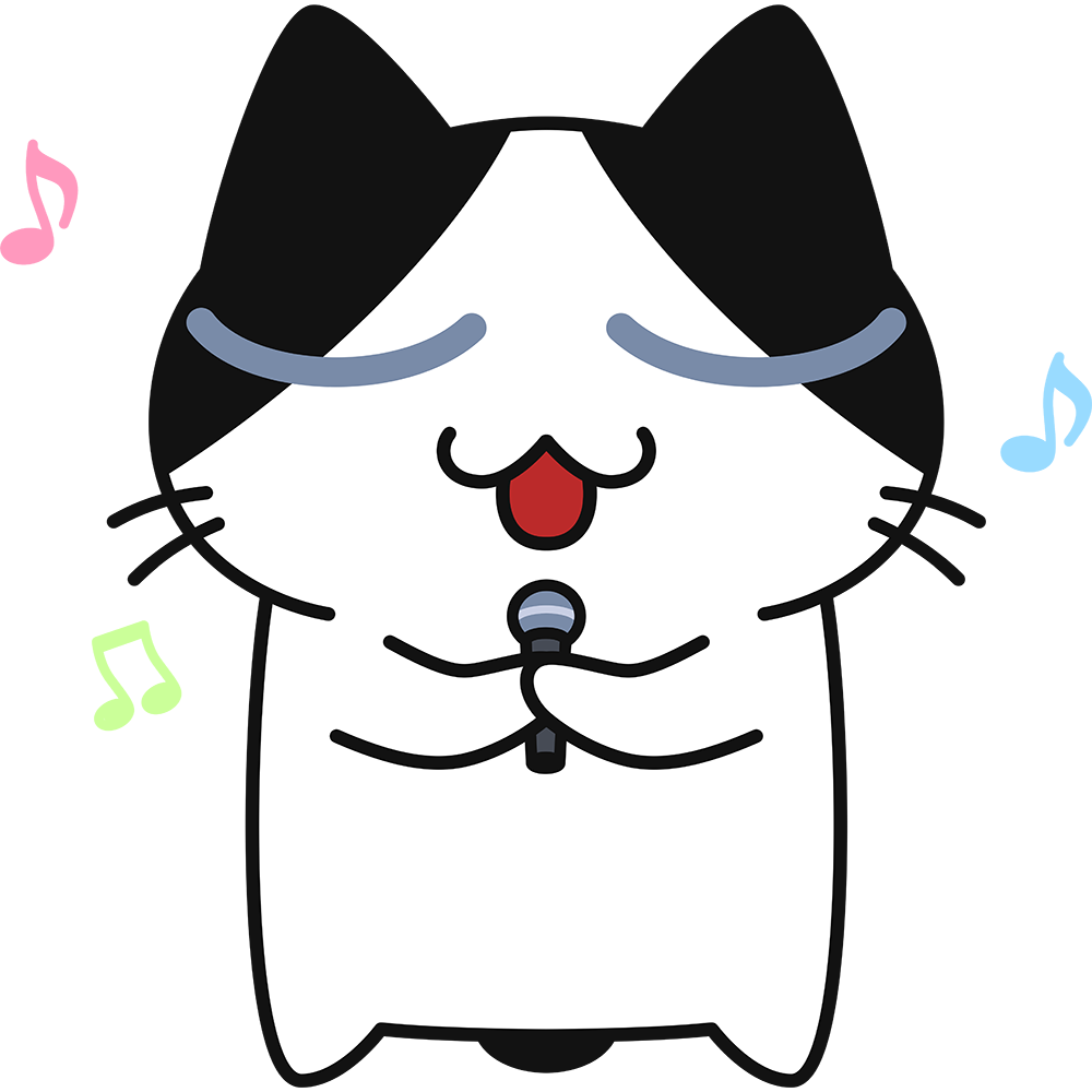 歌を歌う猫の無料イラスト