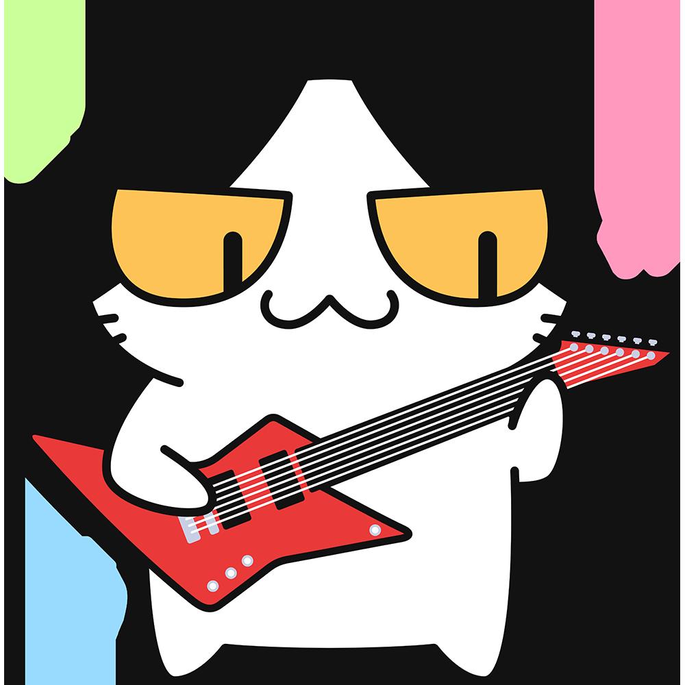 エレキギターを弾く猫の無料イラスト