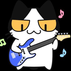 ベースギターを弾く猫