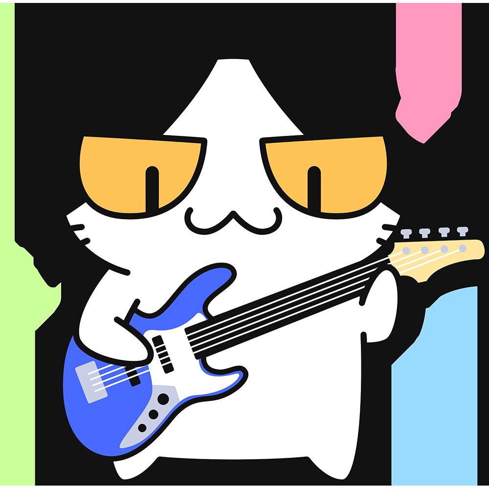 ベースギターを弾く猫の無料イラスト