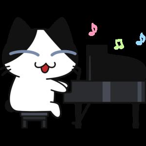 ピアノを弾く猫の無料イラスト
