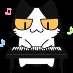 電子ピアノを弾く猫の無料イラスト