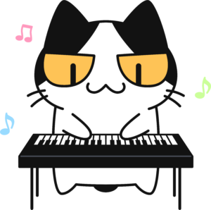 電子ピアノを弾く猫