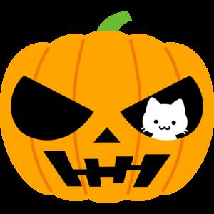 猫とハロウィンかぼちゃ