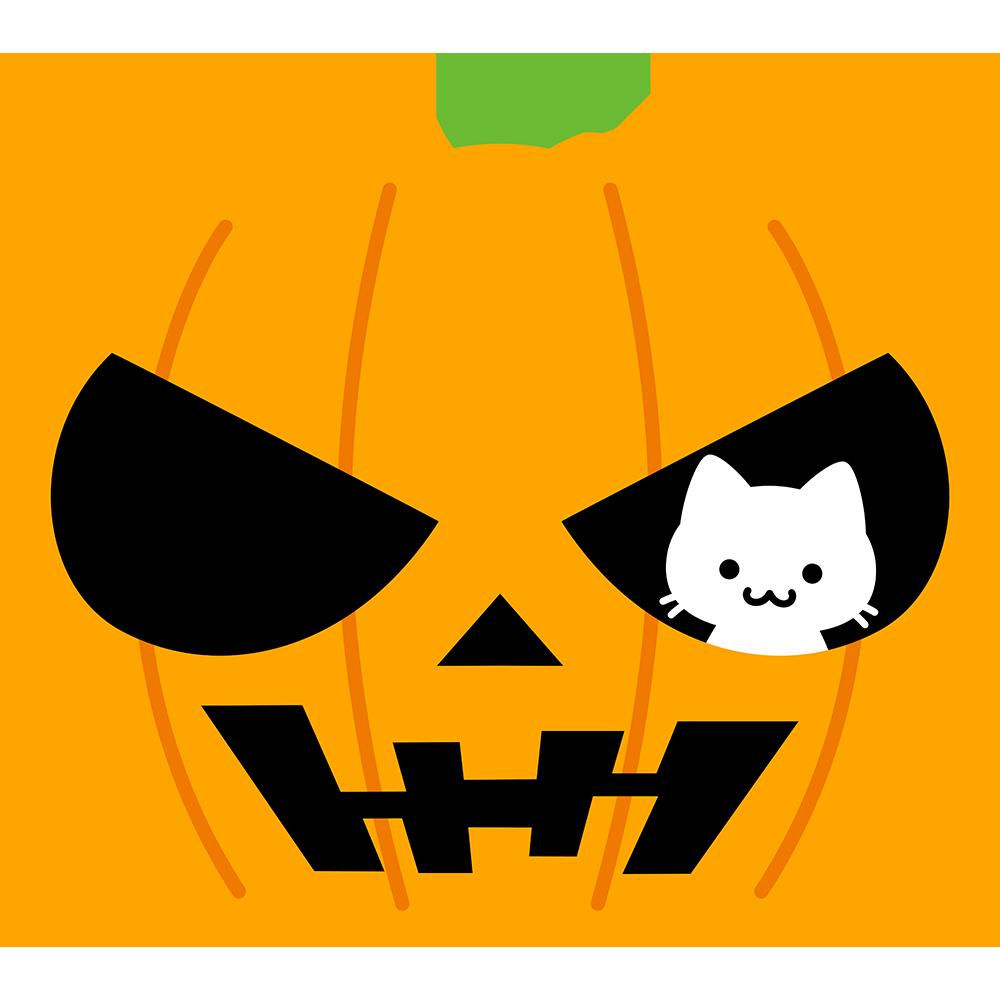 猫とハロウィンかぼちゃの無料イラスト
