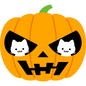 2匹の猫とハロウィンかぼちゃ