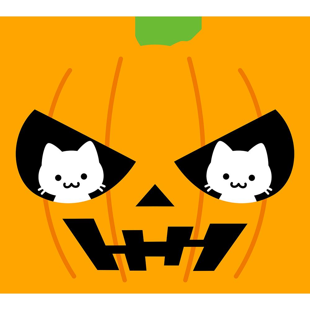 2匹の猫とハロウィンかぼちゃの無料イラスト