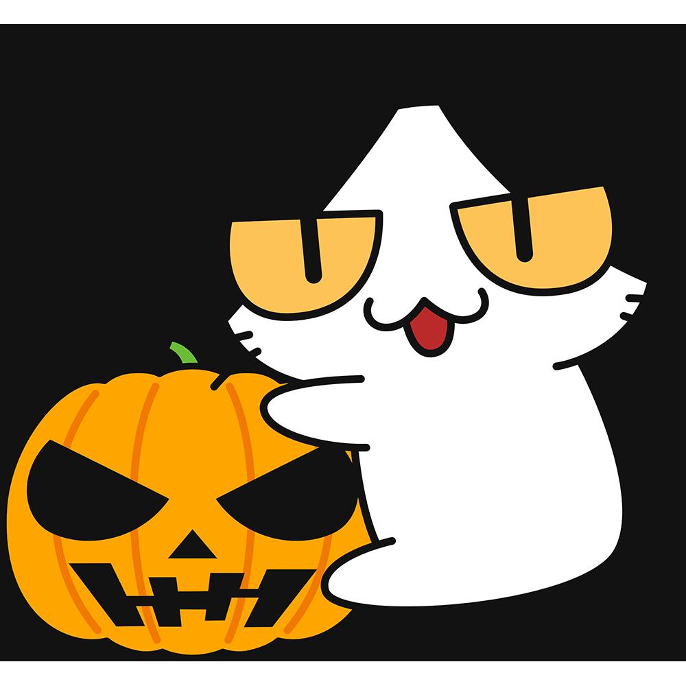 ハロウィンかぼちゃにしがみつく猫の無料イラスト