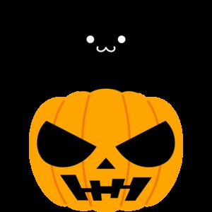 黒猫とハロウィンかぼちゃ