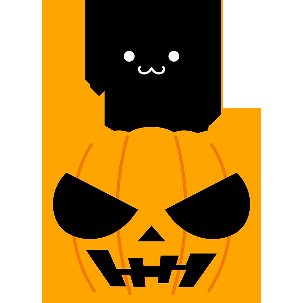 黒猫とハロウィンかぼちゃの無料イラスト