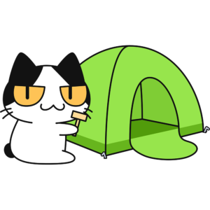 テントを立てる猫の無料イラスト
