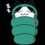 寝袋で寝る猫の無料イラスト
