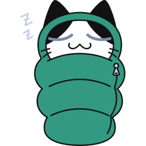 寝袋で寝る猫