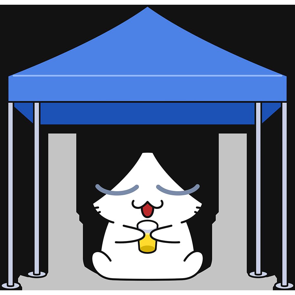 タープで休憩する猫の無料イラスト