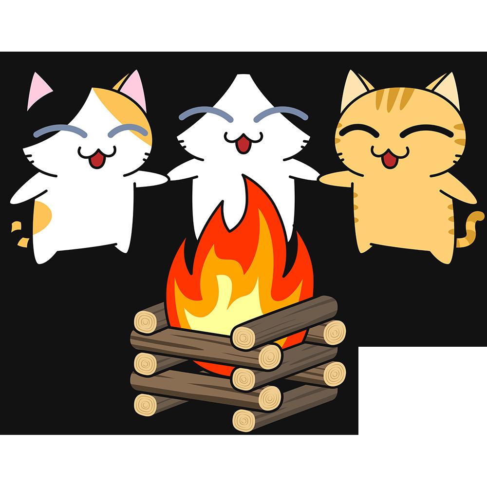 キャンプファイヤーする猫の無料イラスト