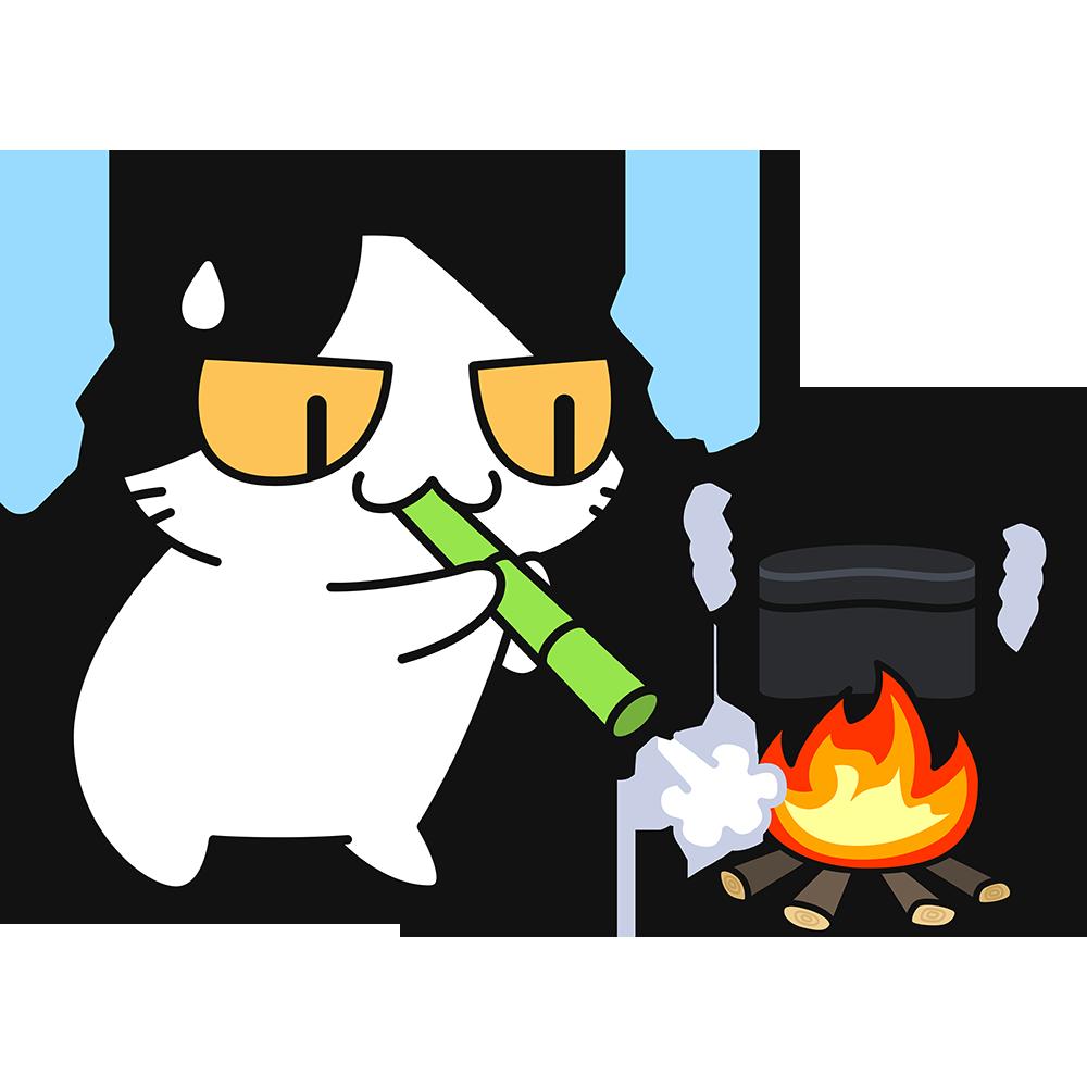 飯盒で米を炊く猫の無料イラスト