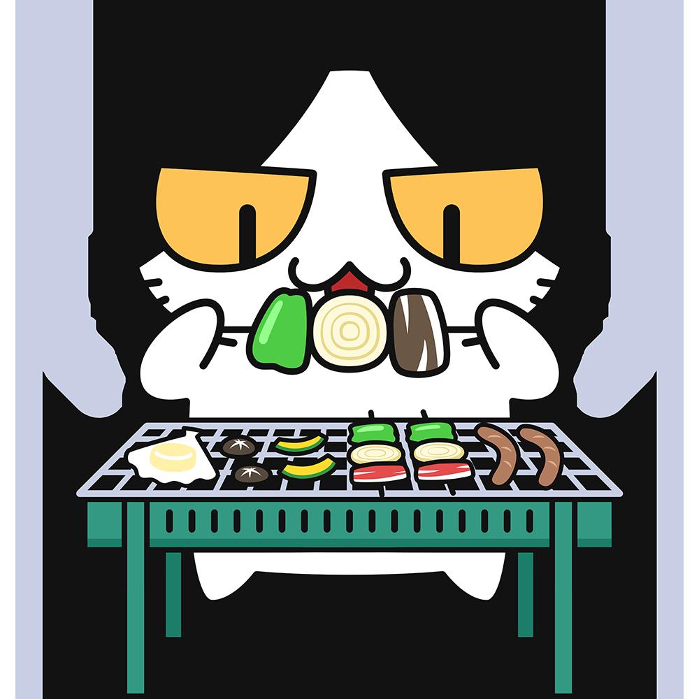 バーベキューする猫の無料イラスト
